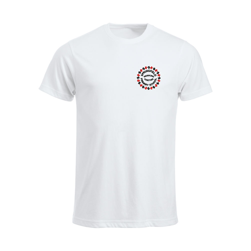 Cotton crew neck t shirt, white, embroidered School logo to left breast
