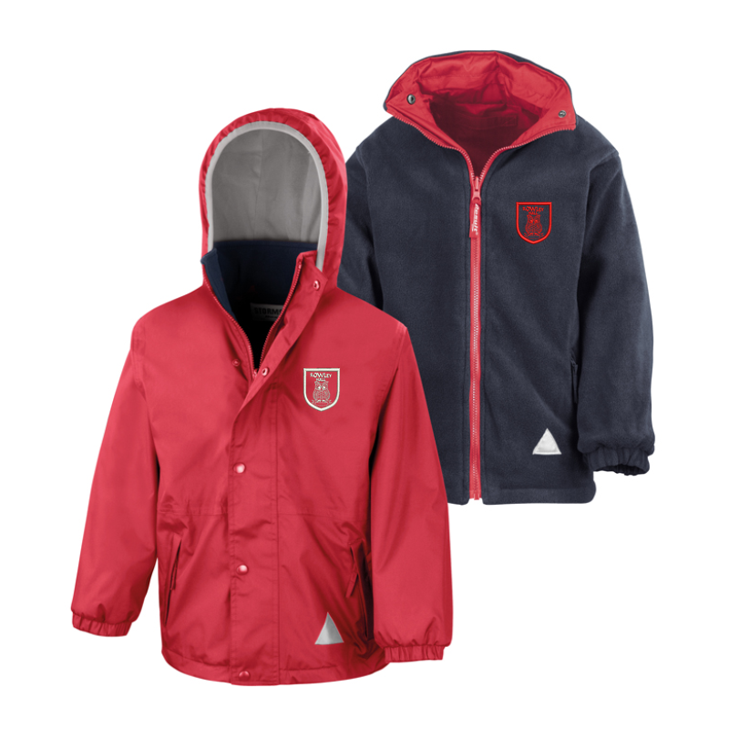 Reversible Fleece/Coat; Hooded - Breathable, Water and Windproof jacket, warm jacket, Red outer jacket and Navy fleece on reverse - School logo left breast of outer jacket.