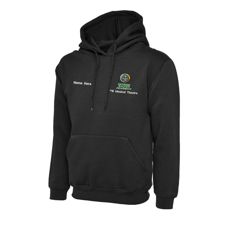 Premium Hooded Sweatshirt in Black, embroidered Academy logo and subject text below to left breast. Inclusive of your name embroidered to the right breast!