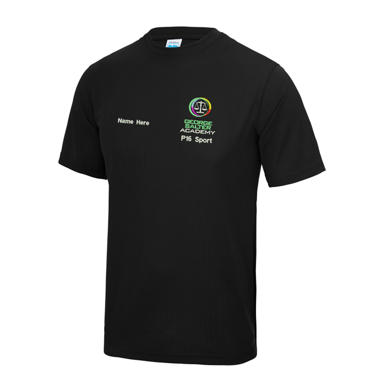 Sports Polyester T Shirt, in black, with logo embroidered left breast plus your name right breast.