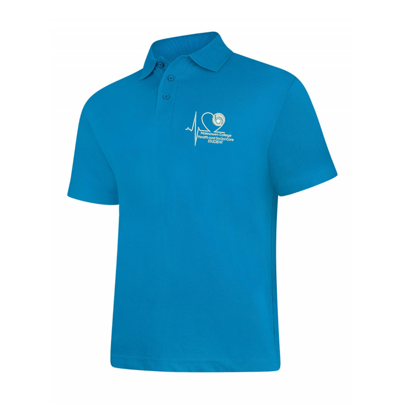 Poloshirt in Sapphire embroidered with College Logo to left breast