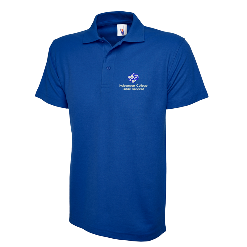 Poloshirt in blue embroidered with College Logo to left breast