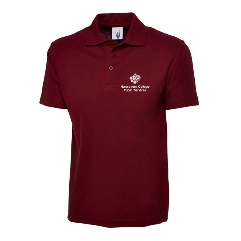 Poloshirt in maroon embroidered with College Logo to left breast