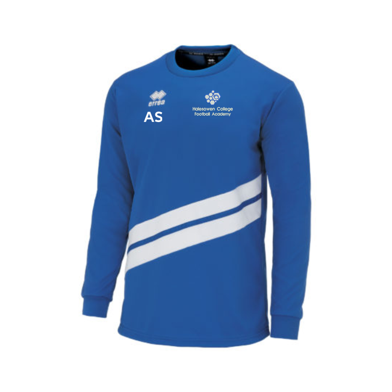 Crew neck Blue/White Polyester long sleeve training top, embroidered with College logo to left breast