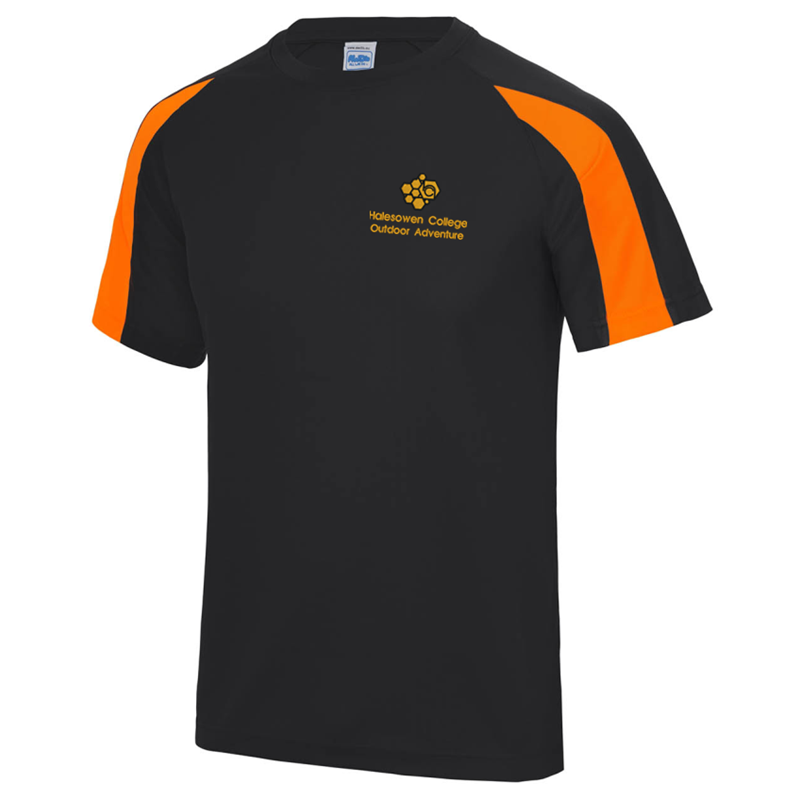 Cool polyester fabric crew neck t shirt, embroidered with logo to left breast