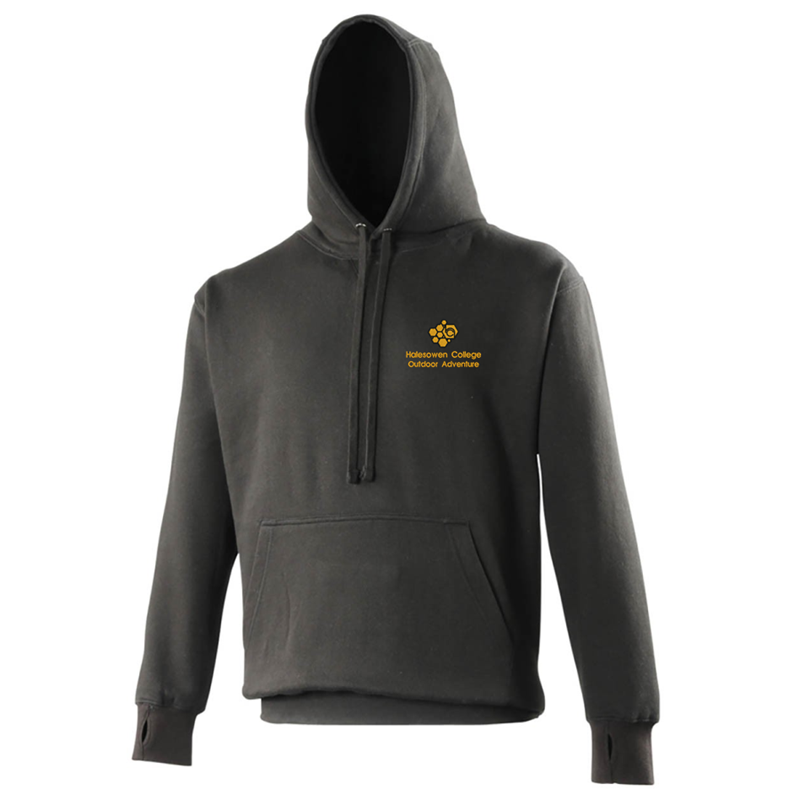 Heavy Hoodie, mobile phone pocket, thunbhiles and stylish cut, embroidered with College logo