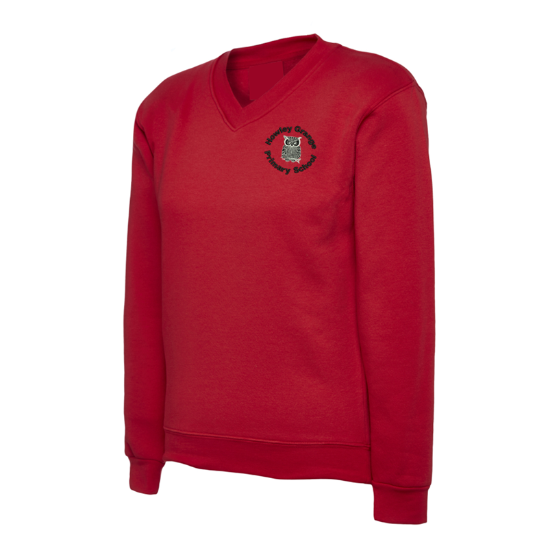 V Neck Sweatshirt in Red, embroidered School logo left breast.