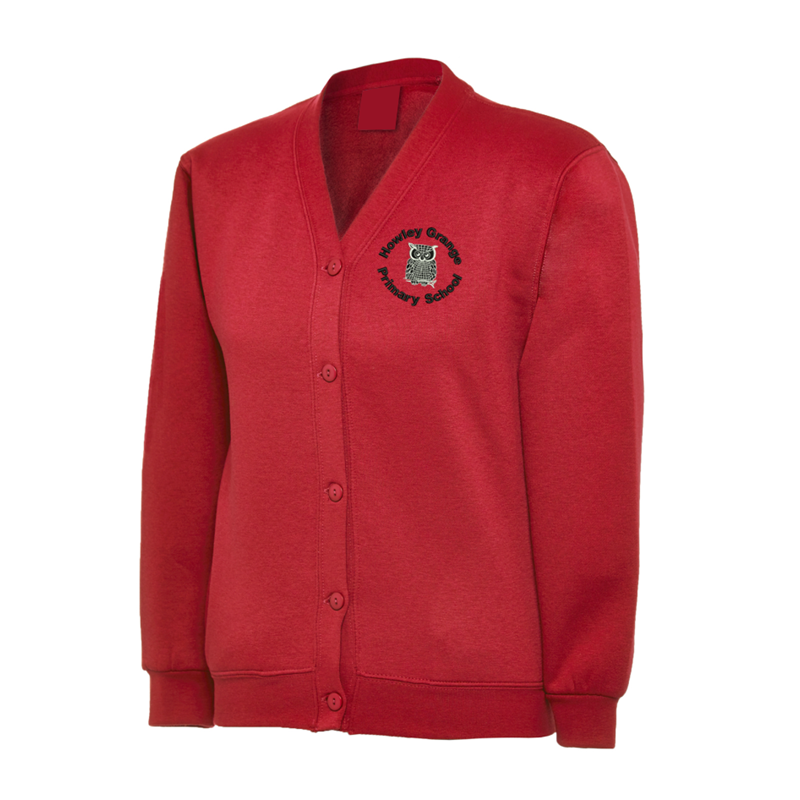 Red Cardigan embroidered School logo to the left breast.