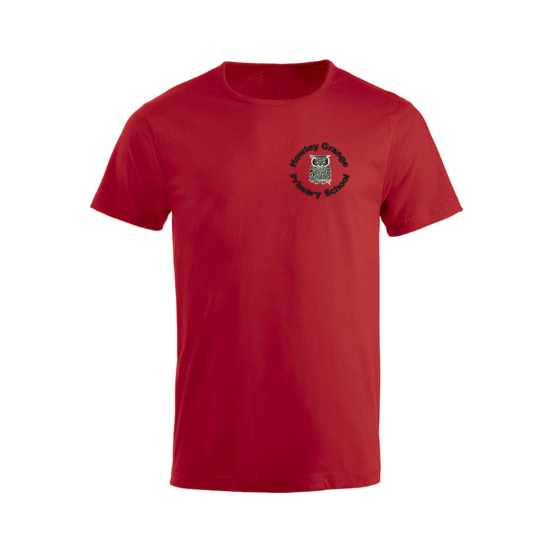 Cotton crew neck t shirt, Red, embroidered School logo to left breast