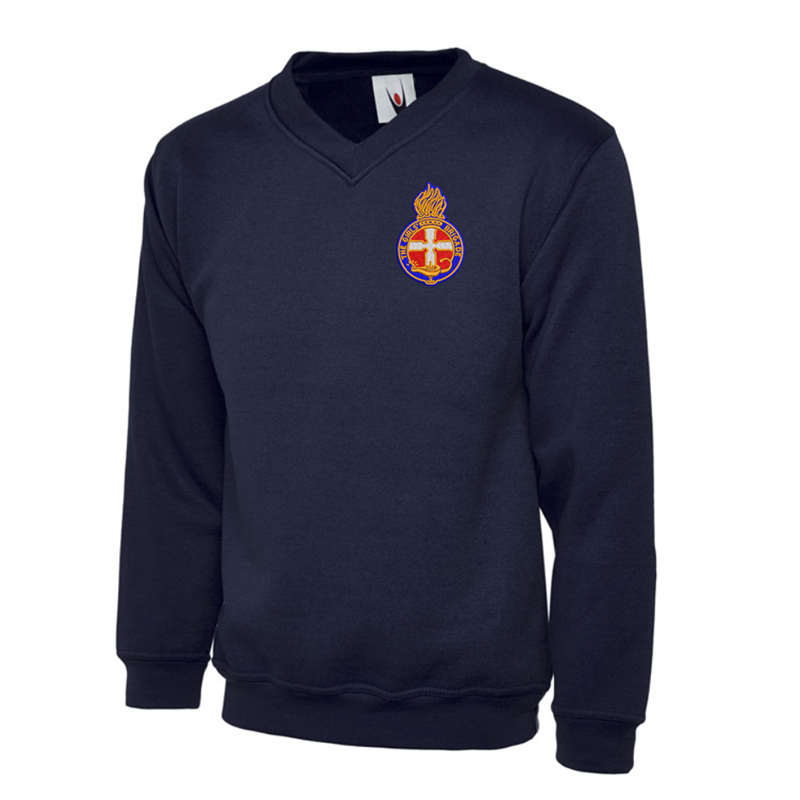 V Neck Sweatshirt, Navy Blue, embroidered Girls Brigade logo to front left chest as worn, available in Kids and Adult sizes.
