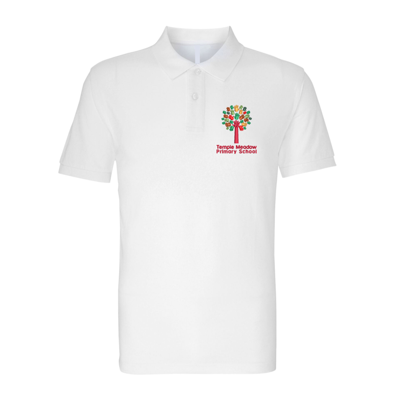 White poloshirt embroidered with School logo.