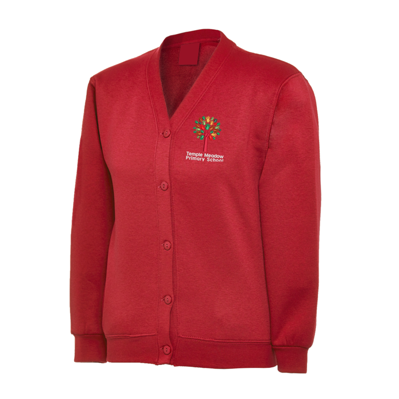 Red Cardigan  embroidered with School logo.
