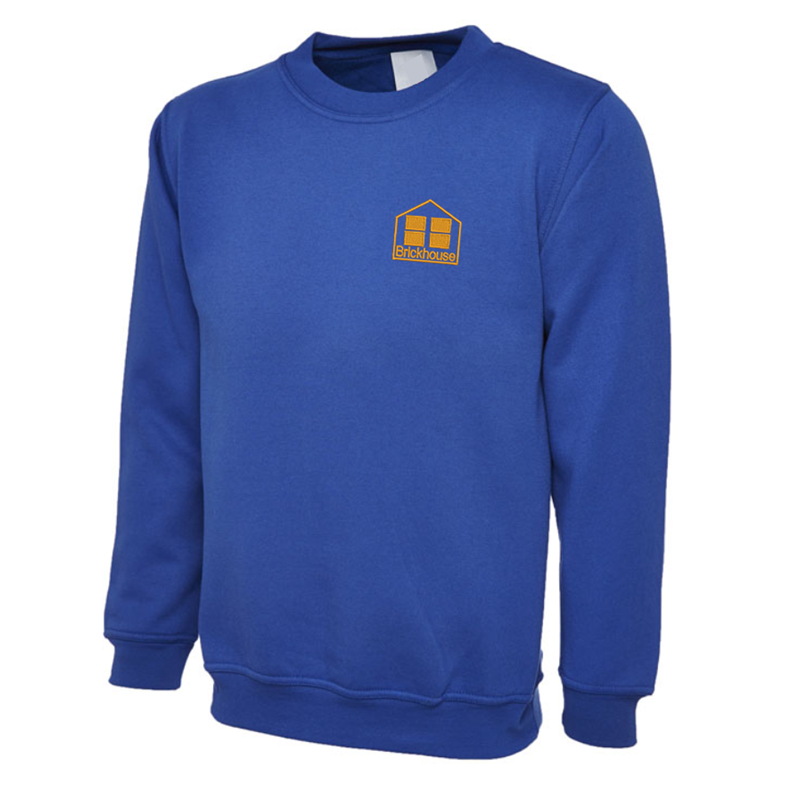 Crew neck sweatshirt embroidered School logo to left breast.