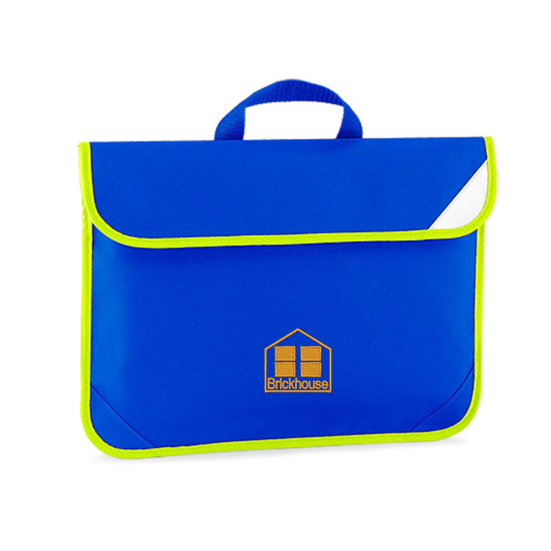Blue Book bag with hi viz edging embroidered with School logo.
