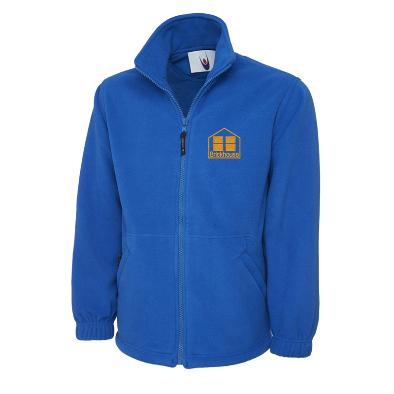Full zip blue fleece jacket embroidered with School logo.