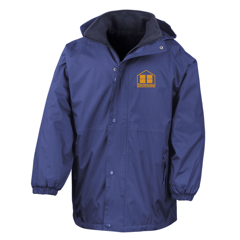 Reversible Fleece/Coat; Hooded - Breathable, Water and Windproof jacket, warm jacket, Blue outer jacket and darker blue fleece on reverse - School logo left breast of outer jacket.