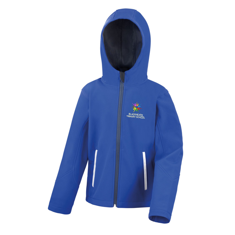 Soft Shell jacket, compressed fleece inner, Breathable, wind and waterproof outer., embroidered with School logo.
