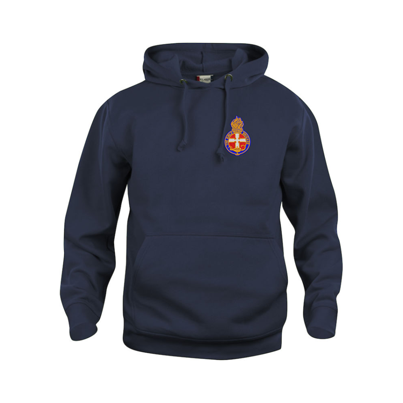 Pullover hooded sweatshirt, embroidered logo left breast.Unisex fit from Childrens size 3/4 years to Adults 4XL.