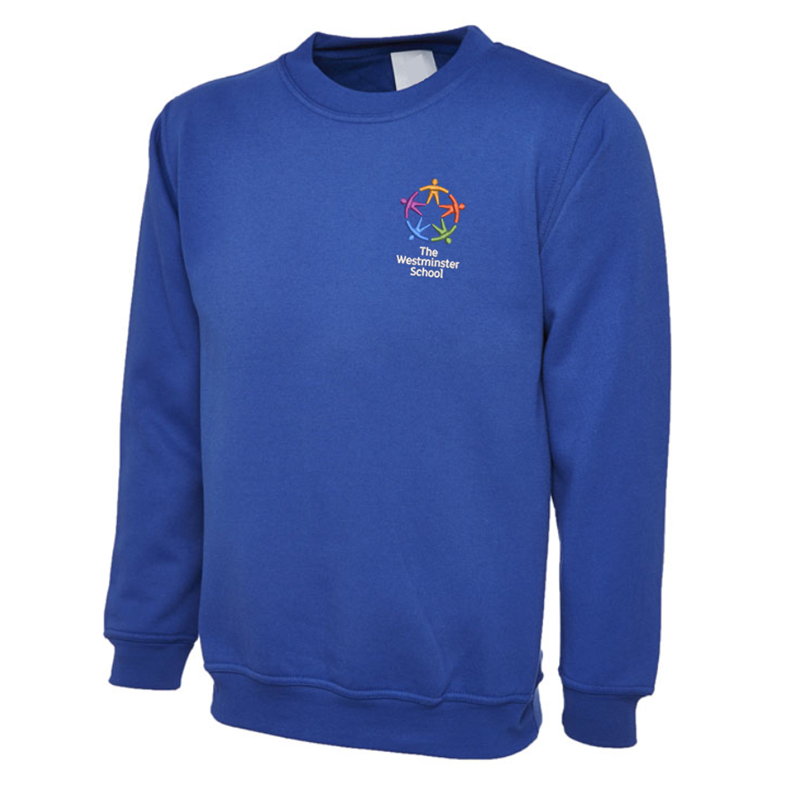 Crew neck sweatshirt embroidered with School logo.