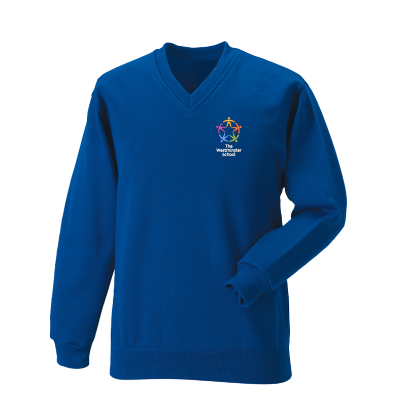 V Neck Jersey Sweatshirt with School logo.