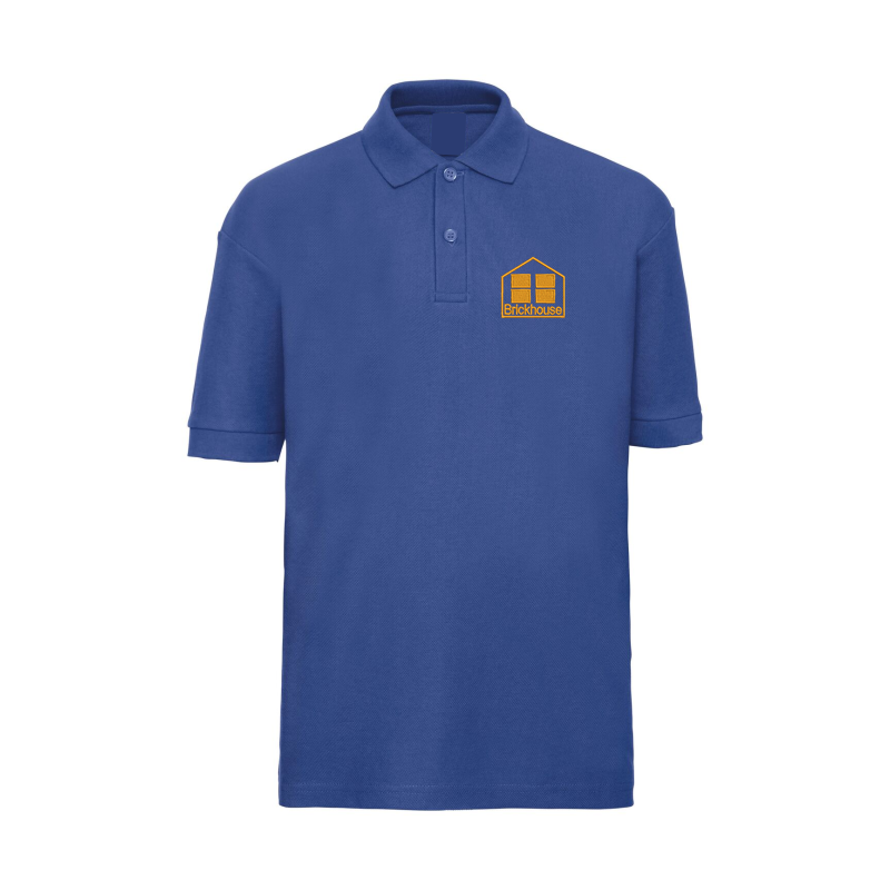 Blue poloshirt embroidered with School logo.