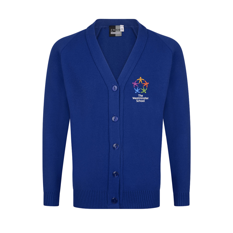 Knitted Cardigan in Blue embroidered with School logo.
