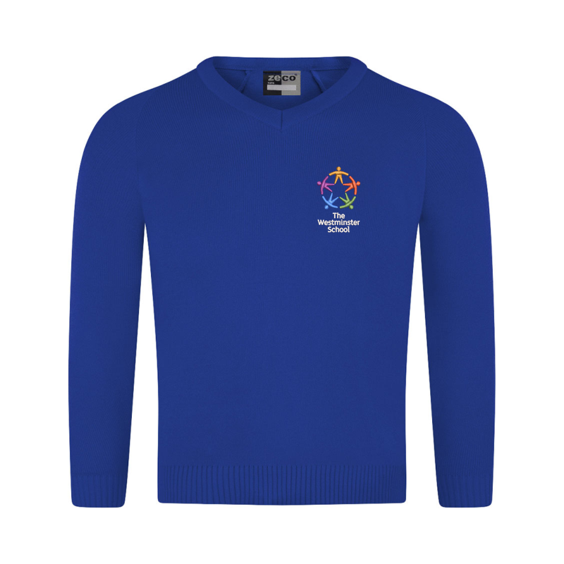 Knitted Cotton V Neck Jumper embroidered with School logo.