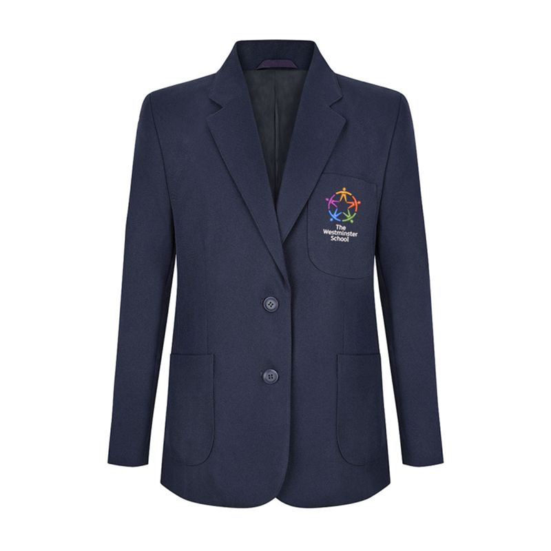 Girls fitted School Blazer, School logo embroidered. Featuring Two side vents, Two inside chest pockets, one with zip, Internal mobile phone/iPod pocket. Teflon coated for stain resistant finish