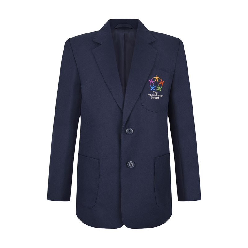 Biys School Blazer, School logo embroidered. Featuring Two side vents, Two inside chest pockets, one with zip, Internal mobile phone/iPod pocket. Teflon coated for stain resistant finish