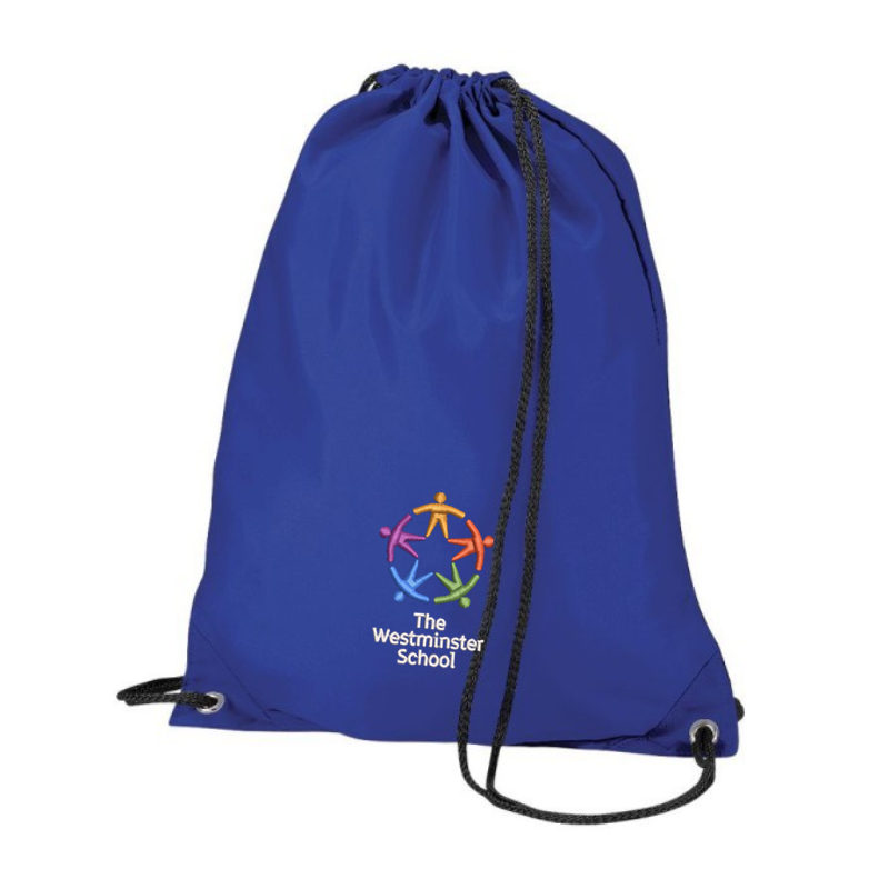 Nylon PE Drawstring style PE Bag, embroidered with School logo.