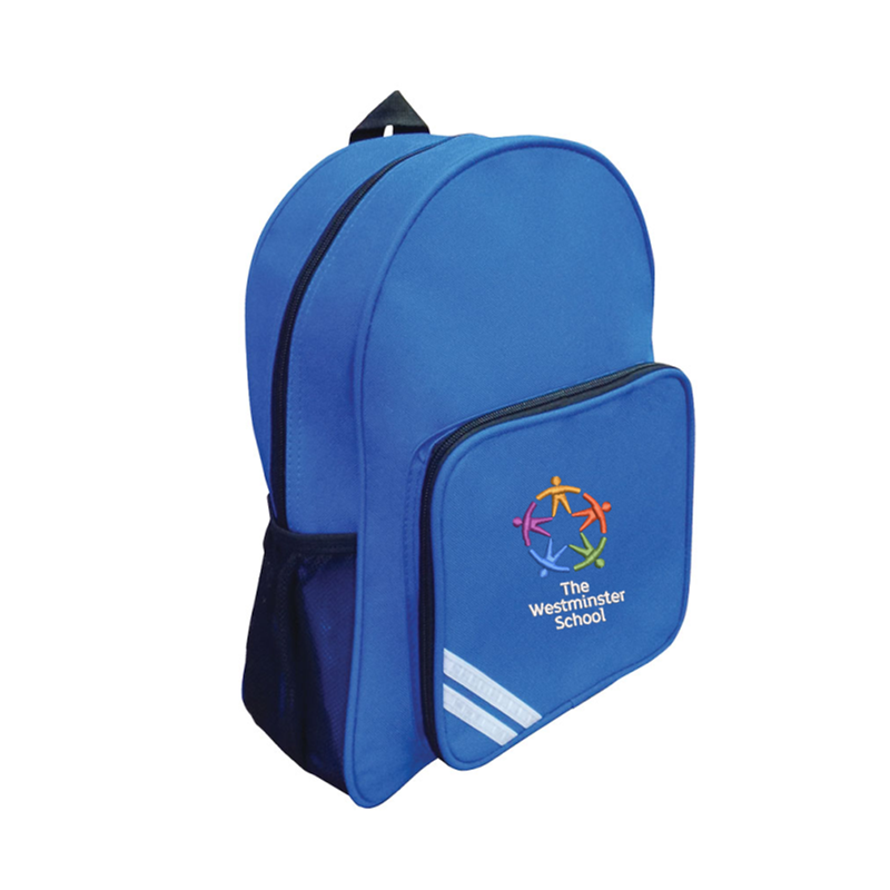 Backpack embroidered with School logo.
