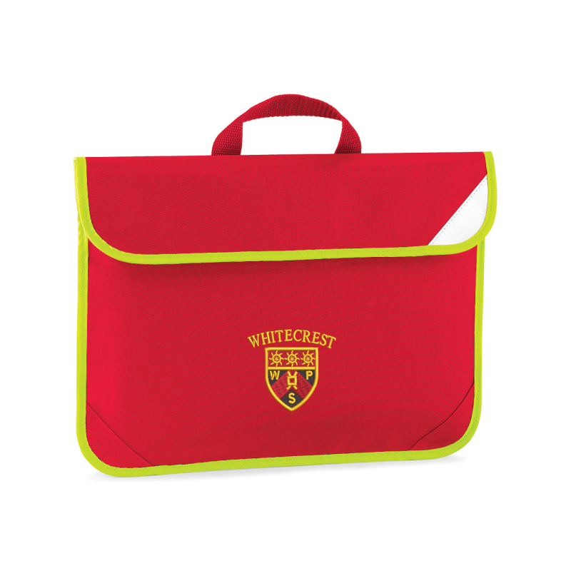 Red Book bag with hi viz edging embroidered with School logo.