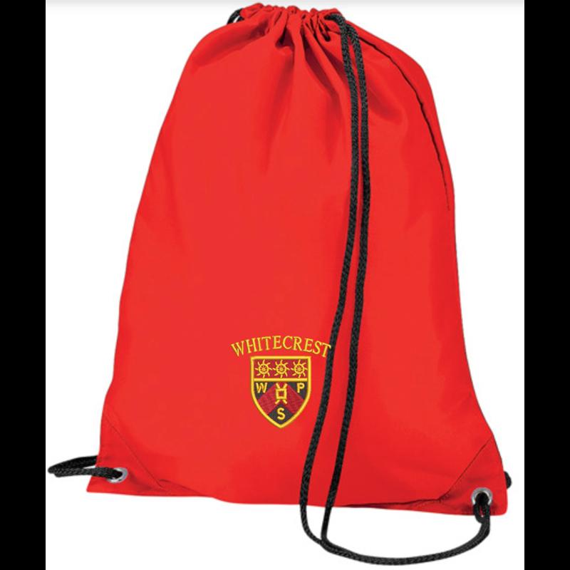 Nylon PE Drawstring style PE Bag, embroidered with School logo.