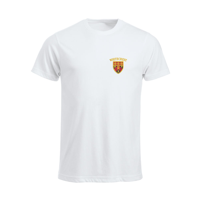Crew neck cotton t shirt embroidered with School logo.