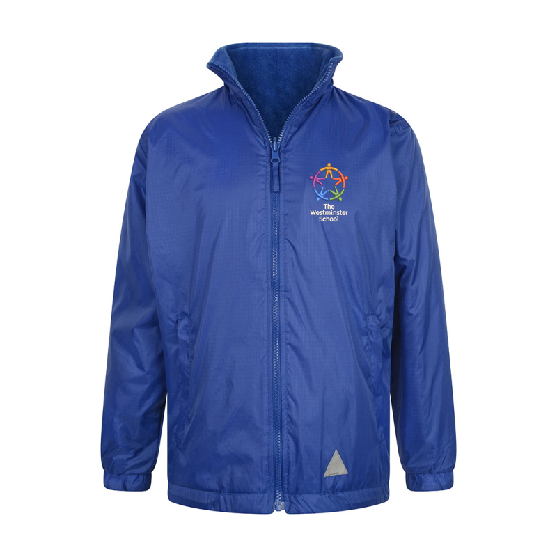 Full zip fastening with Front and back reflectors, Shower proof with Anti-Pill fabric inside, Zip away hood,  Inside and outer zipped pockets with phone pocket Embroidered School logo