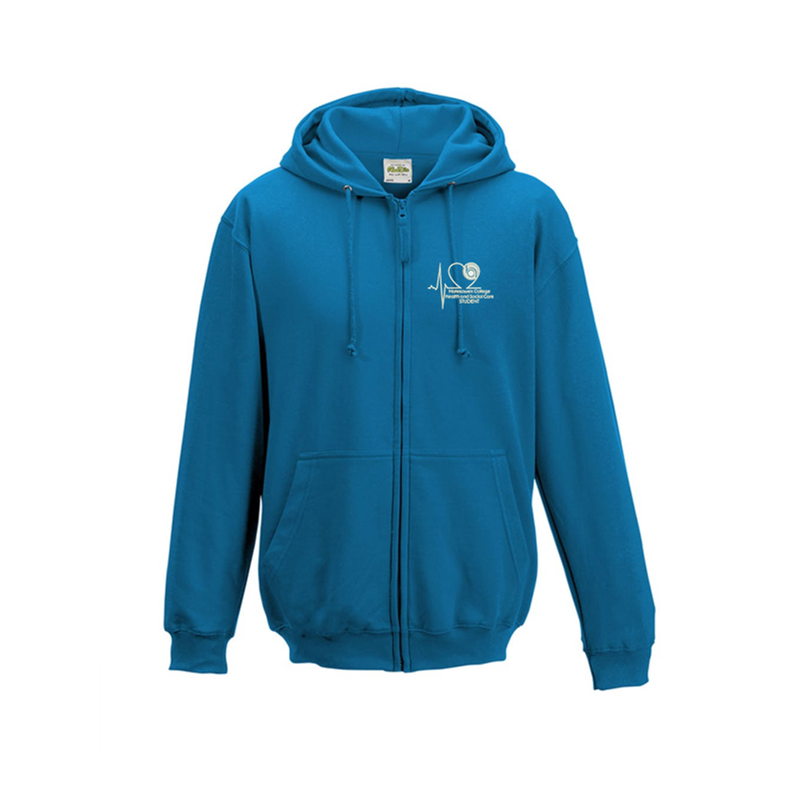 Full zipped Hoodie embroidered with Student logo left breast.