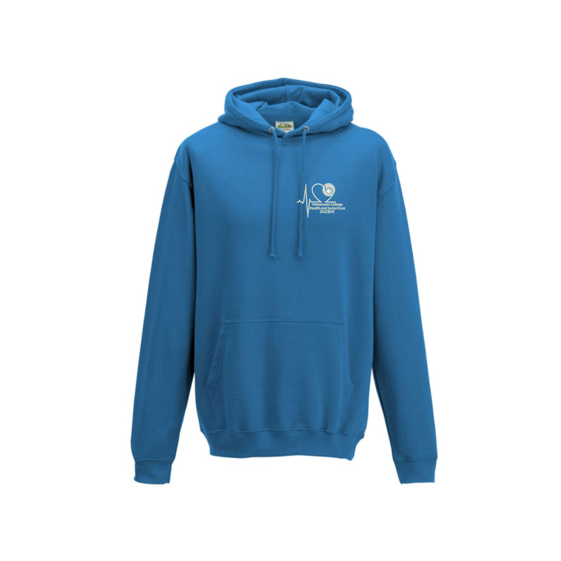 Blue hooded sweatshirt, embroidered College Health & Social Care logo in white to left breast.