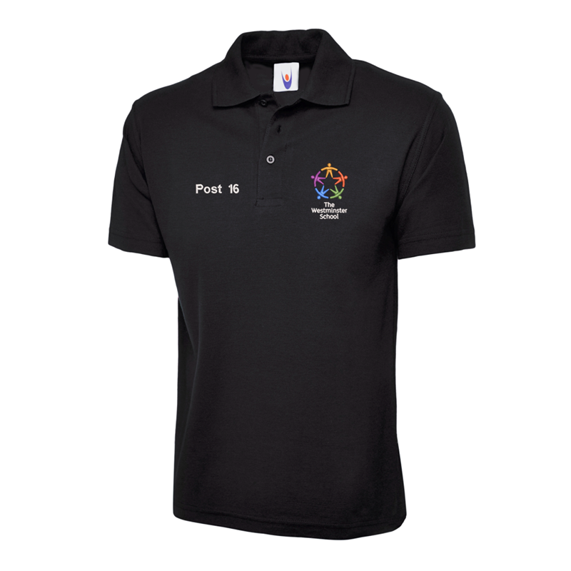 Polycotton poloshirt in black, embroidered with School logo and Post 16 to front