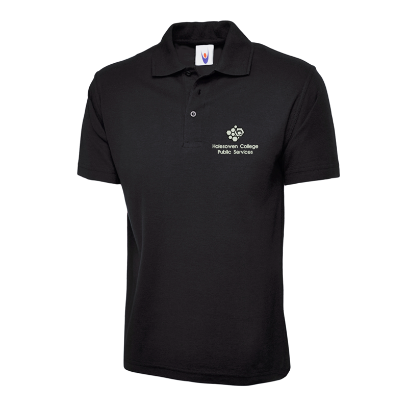 Poloshirt in black embroidered with College Logo to left breast