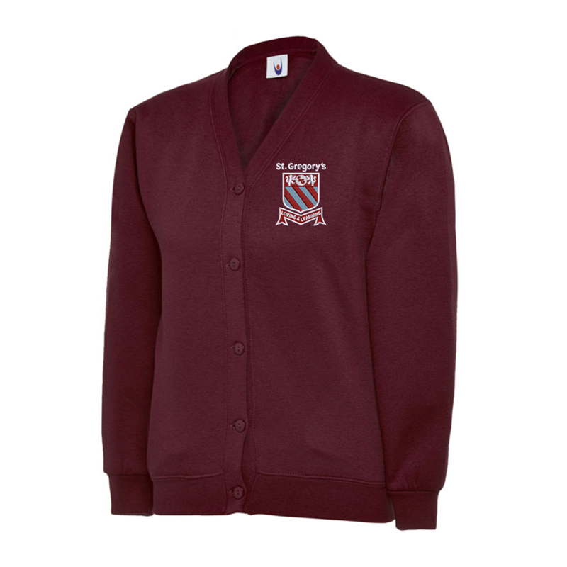 Jersey fabric Cardigan embroidered with School logo.