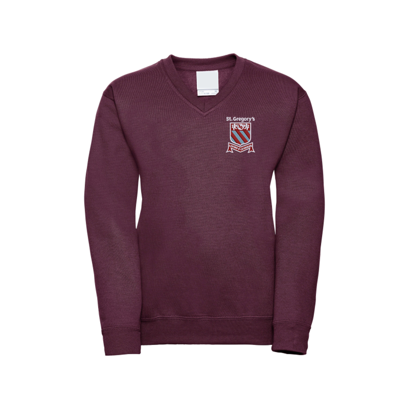 Jersey V Neck Sweatshirt embroidered with School logo.