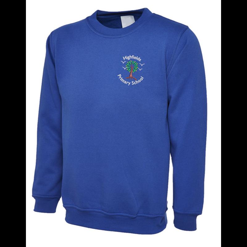 Crew Neck sweatshirt embroidered with School logo left breast.