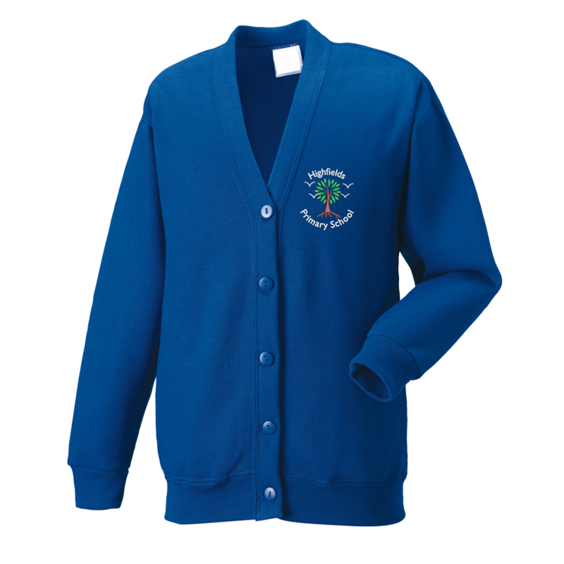 Cardigan embroidered with School logo left breast.