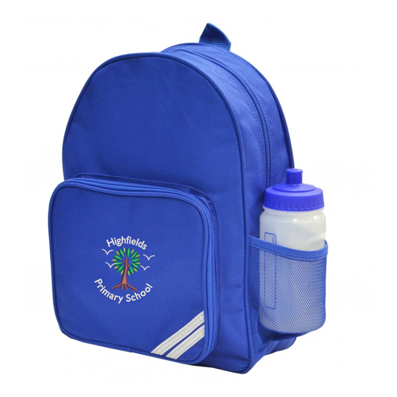 """Infant size backpack with school logo. Size 14"""" X 9"""" X 6"""""""