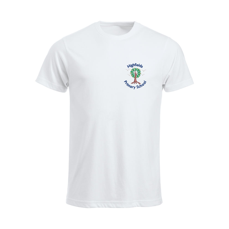 100% Cotton T Shirt embroidered School logo left breast.