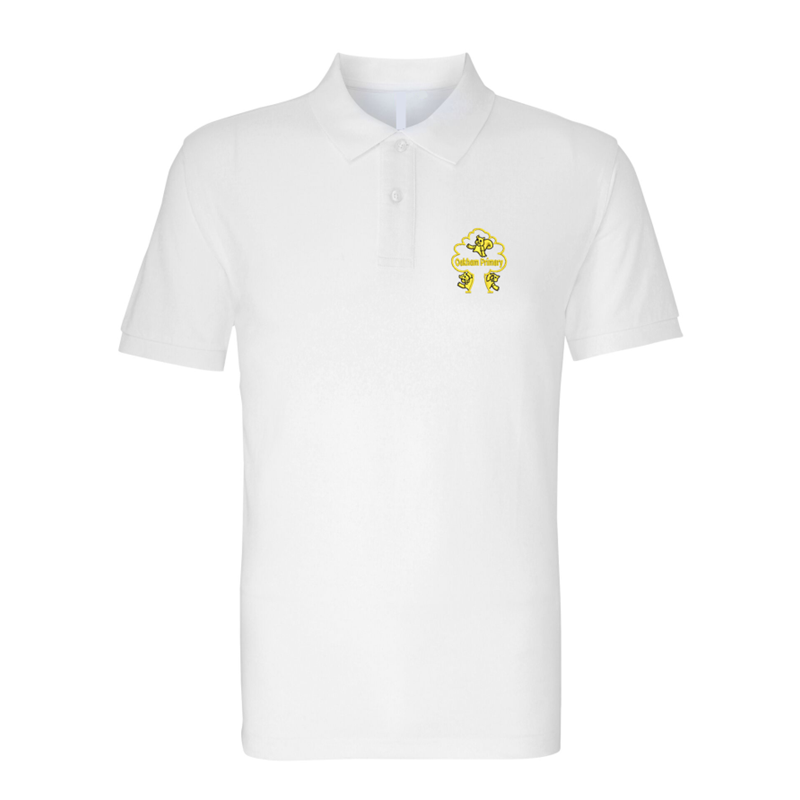 White poloshirt with School logo