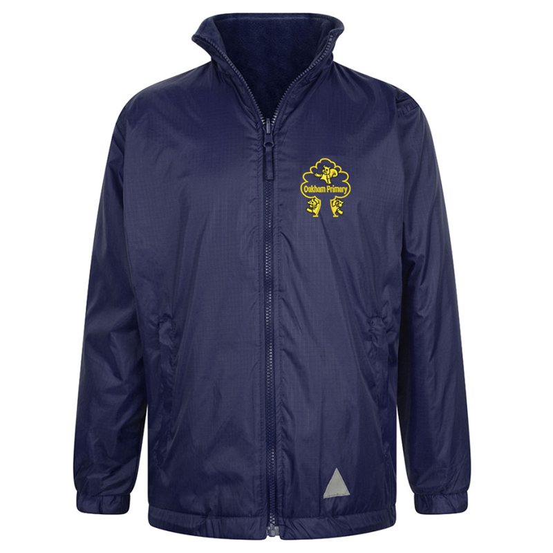 Full Zip Reversible Fleece Jacket embroidered with School logo.