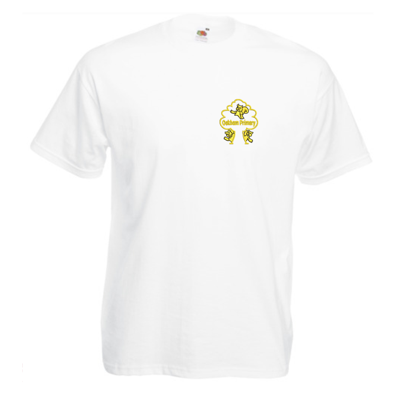 White Cotton PE T Shirt with School logo