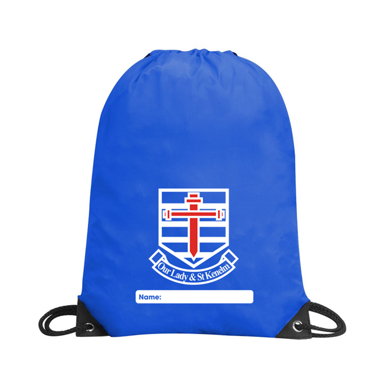 School PE Bag, logo embroidered to one side.