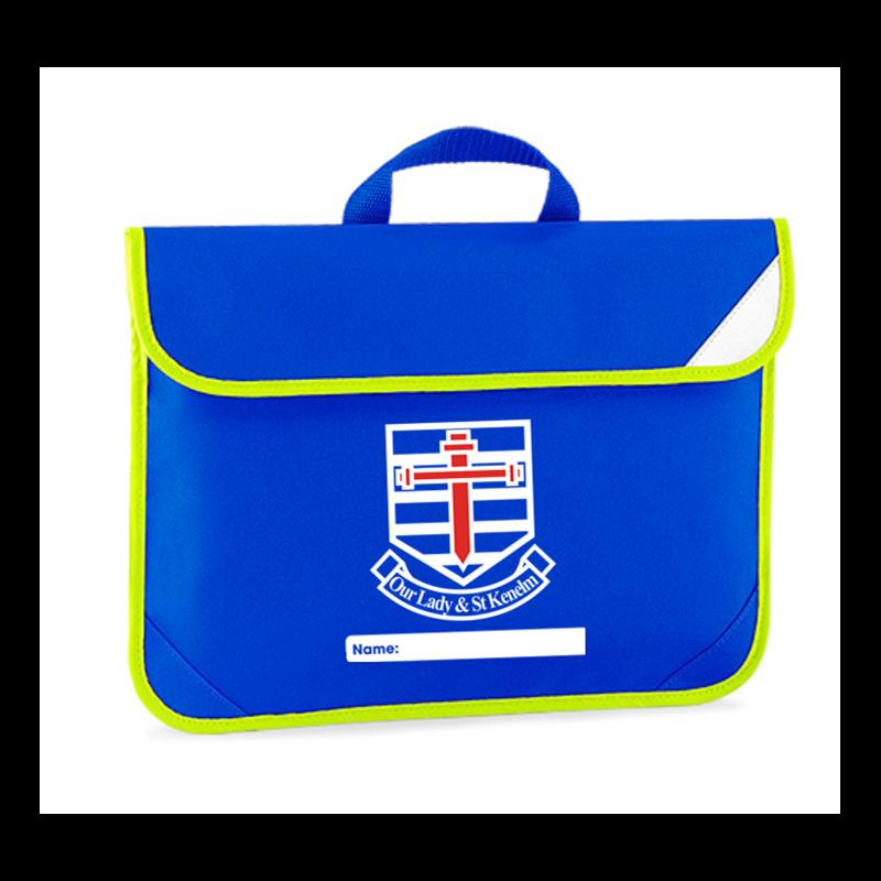 Hi Viz trimmed book bag with School logo embroidered